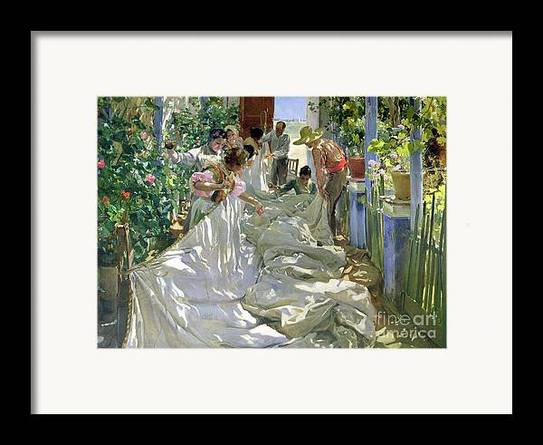 Sewing;straw Hat;geranium;sunshine;worker;workers;greenhouse;conservatory;interior; Pagoda Framed Print featuring the painting Mending The Sail by Joaquin Sorolla y Bastida