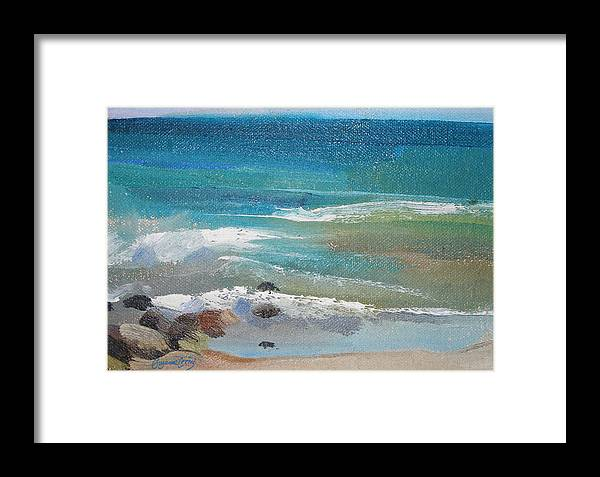 Mendocino Framed Print featuring the painting Mendocino Coast-ocean View by Suzanne Cerny