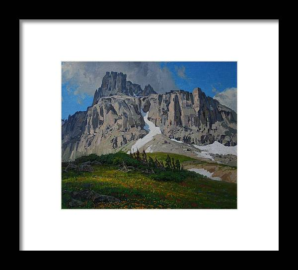 Landscape Framed Print featuring the painting Mendota Peak by Lanny Grant