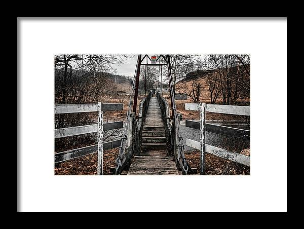 Swinging Bridge Framed Print featuring the photograph Mendota Virginia Swinging Bridge by Dion Wiles