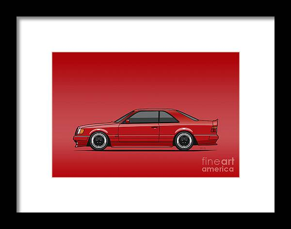 Mercedes W124 300e Red Amg Hammer Widebody Coupe Red Framed Print