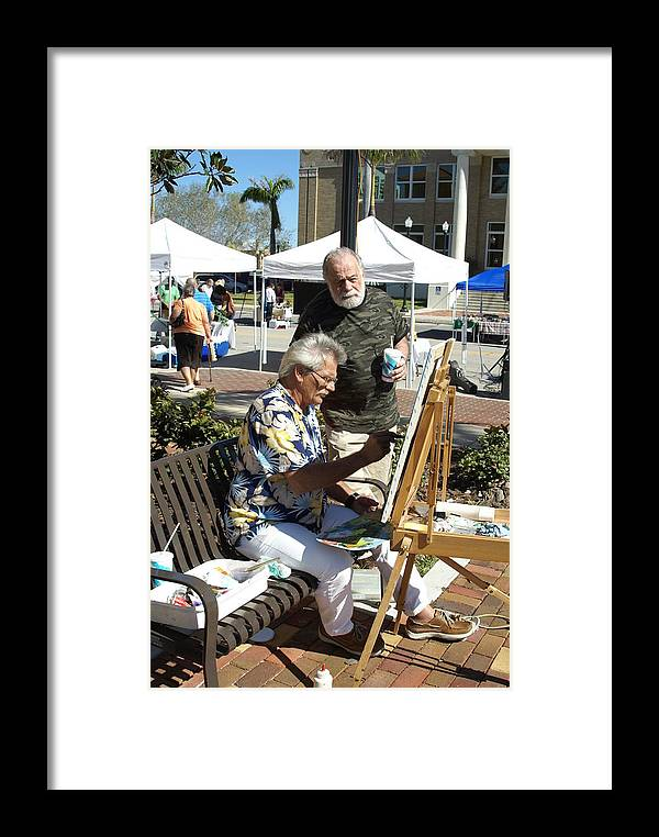 Artists Working Framed Print featuring the photograph Merle Hummell Watches Me Paint by Charles Peck