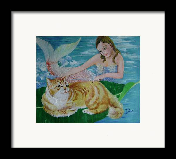 Fantasy Framed Print featuring the painting Mermaid And Cat by Lian Zhen
