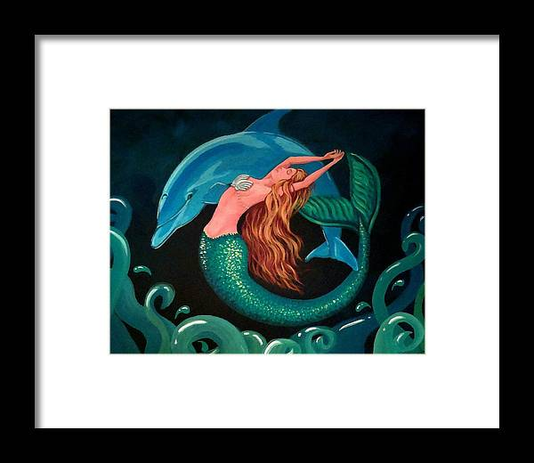 Mermaid Framed Print featuring the painting Mermaid And Dolphin by Debbie Criswell