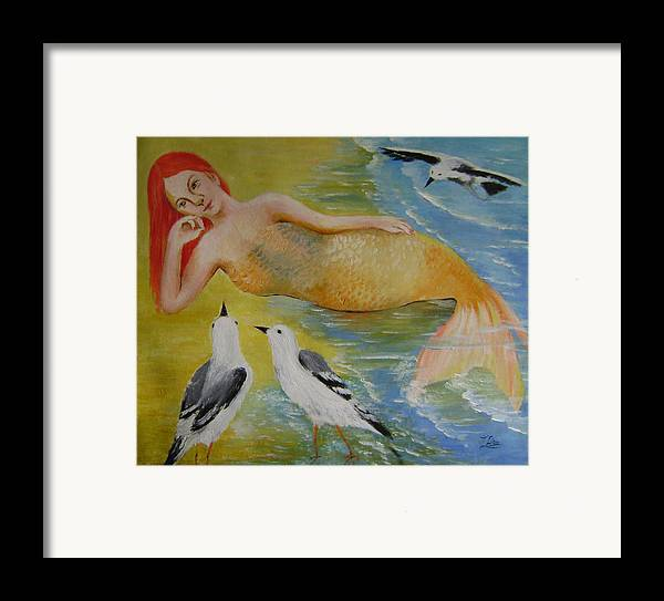 Fantasy Framed Print featuring the painting Mermaid And Seagulls by Lian Zhen