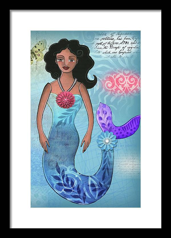 Mermaid Framed Print featuring the mixed media Mermaid Dream 1 by Elaine Jackson