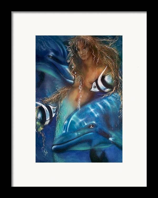 Ocean Framed Print featuring the painting Mermaid by Elizabeth Silk