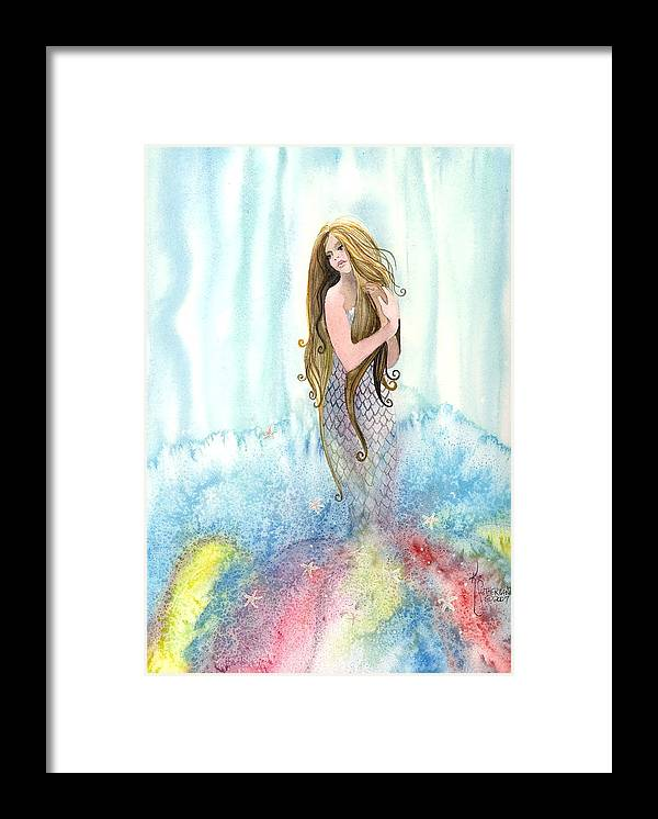 Fantasy Framed Print featuring the painting Mermaid In The Mist by Kim Sutherland Whitton