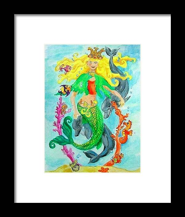 Mermaid Framed Print featuring the painting Mermaid by Jenni Walford