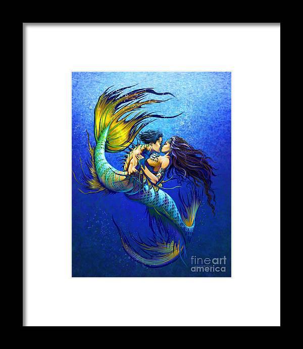 Mermaid Framed Print featuring the painting Mermaid Kiss by Stanley Morrison