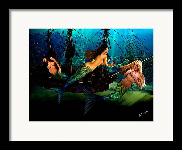 Mermaid Framed Print featuring the painting Mermaid Shipwreck by Tray Mead