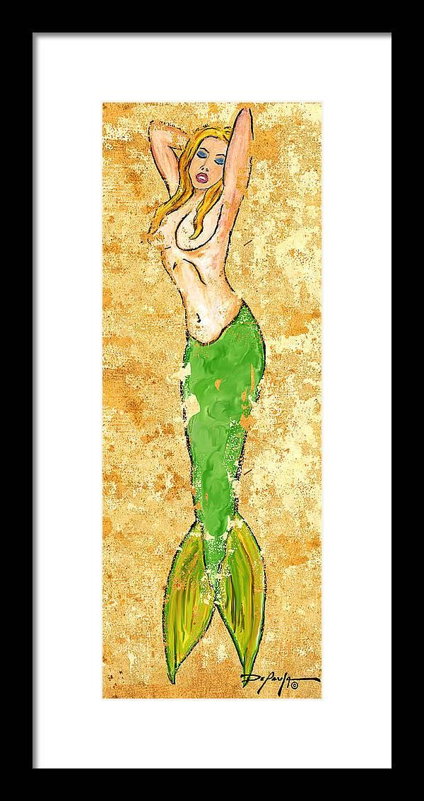 Mermaid Framed Print featuring the pastel Mermaid Stretch by William Depaula
