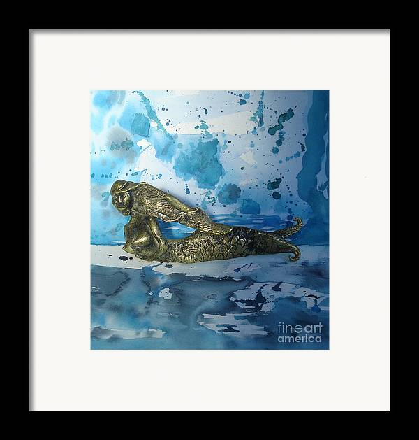 Mermaid Framed Print featuring the painting Mermaid With Sea Spray By Nanzy by Eric Singleton