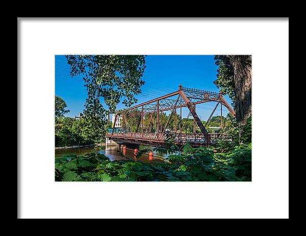 Merriam Street Bridge; Bridge; St. Anthony Riverplace; Minneapolis Framed Print featuring the photograph Merriam Street Bridge by Lonnie Paulson