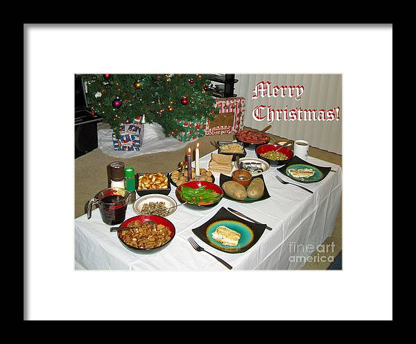 traditional framed print featuring the photograph merry christmas traditional lithuanian christmas eve dinner by ausra