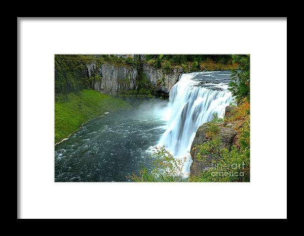 Background Framed Print featuring the photograph Mesa Falls Waterfall In Canyon Gorge Water Wilderness by Lane Erickson