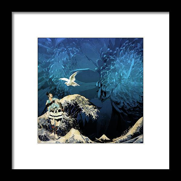 Japanese Prints Framed Print featuring the digital art Messenger by Laura Botsford