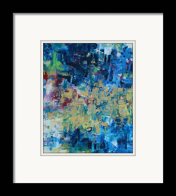 Messy Framed Print featuring the painting Messy Ocean by Joanna Georghadjis
