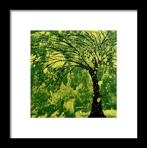 Tree Framed Print featuring the painting Metallic Moon by Linda Powell