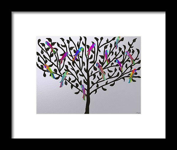 Parrot Parrots Tree Trees Colorful Nature Bird Birds Parrakeet Metallic Silver Black Whimsical Design Art Framed Print featuring the digital art Metallic Parrot Tree by Sher Magins