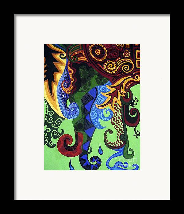 Metaphysical Fauna Framed Print featuring the painting Metaphysical Fauna by Genevieve Esson