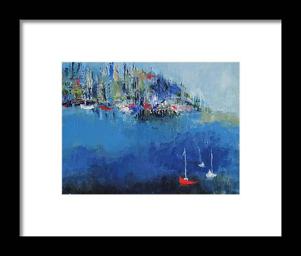 Sailboats Framed Print featuring the painting Metropolis by Les Smith