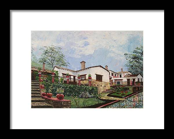 White Stucco Building Framed Print featuring the painting Mexican Hacienda After the Rain by Judith Espinoza