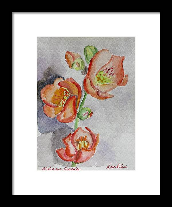 Floral Framed Print featuring the painting Mexican Poppies by Kathy Mitchell