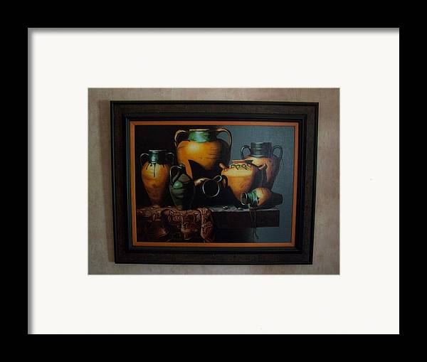 Stilllife Painting Framed Print featuring the painting Mexican Pottery by Robert E Gebler
