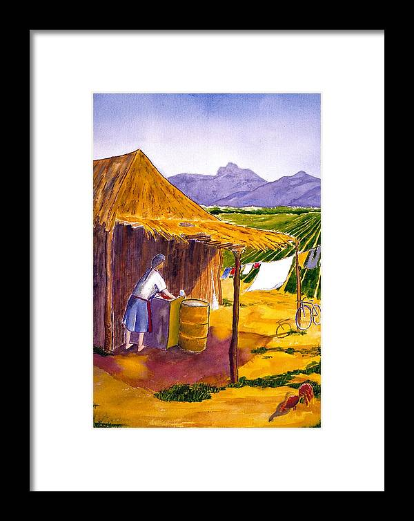 Landscape Framed Print featuring the painting Mexican Washing Machine by Buster Dight