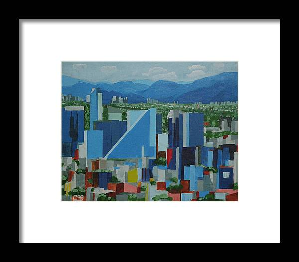 Landscape Framed Print featuring the painting Mexico City by David Bigelow