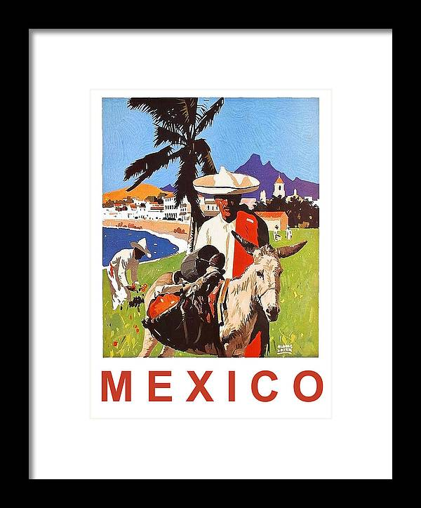 Mexico Framed Print featuring the painting Mexico, Mexican Posing With Donkey by Long Shot