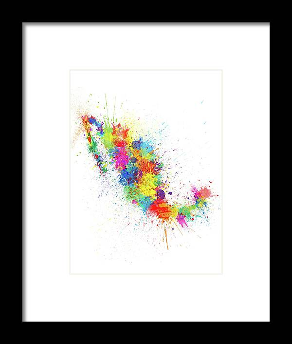 Mexico Map Framed Print featuring the digital art Mexico Paint Splashes Map by Michael Tompsett
