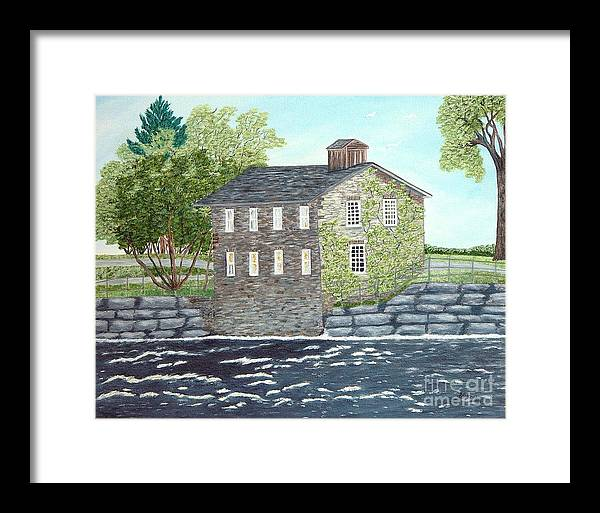 Historic Mills Painting Framed Print featuring the painting Meyers Mill by Peggy Holcroft