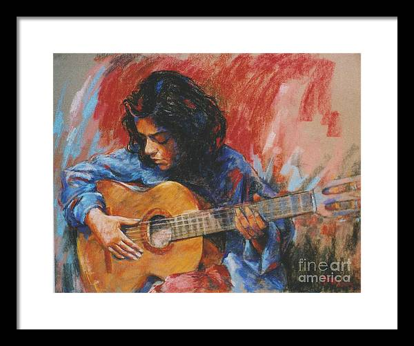 Figurative Framed Print featuring the painting Mi Gitana by Tina Siddiqui