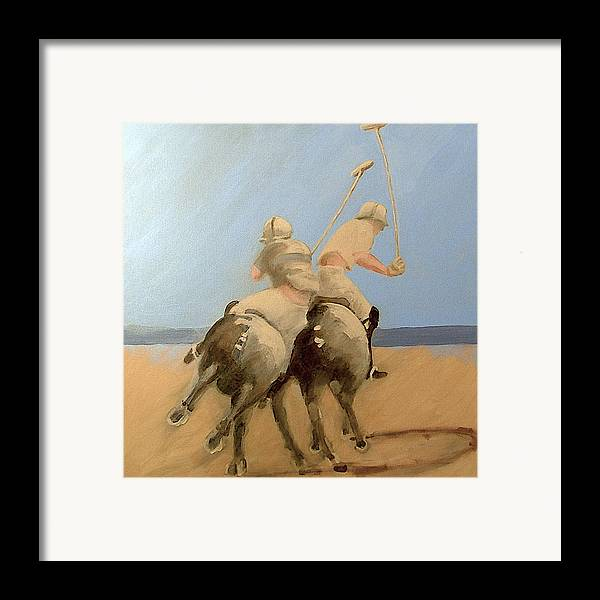 Equestrian Sports Polo Framed Print featuring the painting Miami Beach Polo by Jea DeVoe