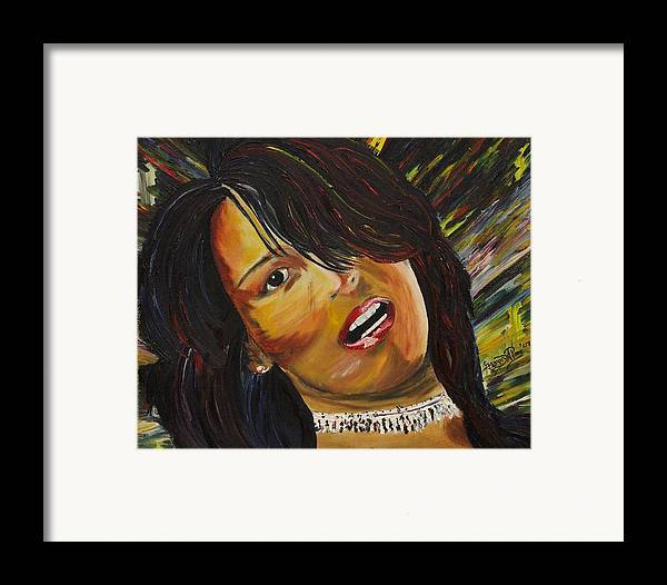 Portrait Painting Framed Print featuring the painting Miami Latina by Gregory Allen Page
