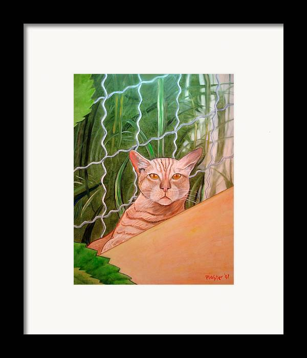 Cat Framed Print featuring the painting Miami Lewie by Scott Plaster