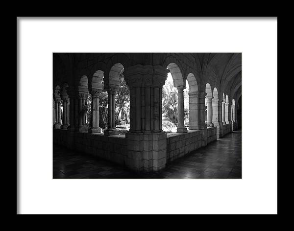 Black And White Framed Print featuring the photograph Miami Monastery In Black And White by Rob Hans