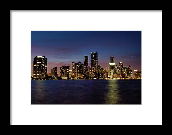 City Framed Print featuring the photograph Miami Nights by Rafael Gonzalez