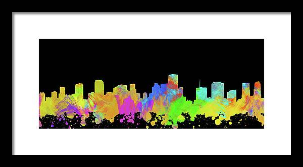 Miami Framed Print featuring the digital art Miami Skyline Silhouette II by Ricky Barnard