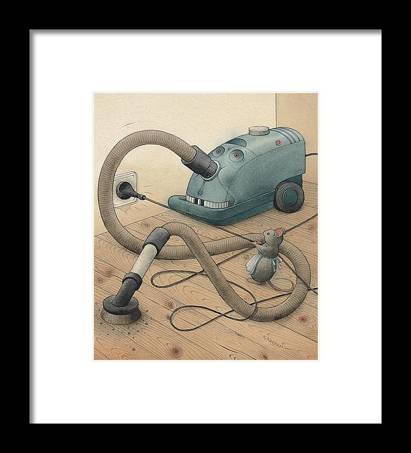 Mice Monster Vacuum-cleaner Brown Framed Print featuring the painting Mice And Monster by Kestutis Kasparavicius
