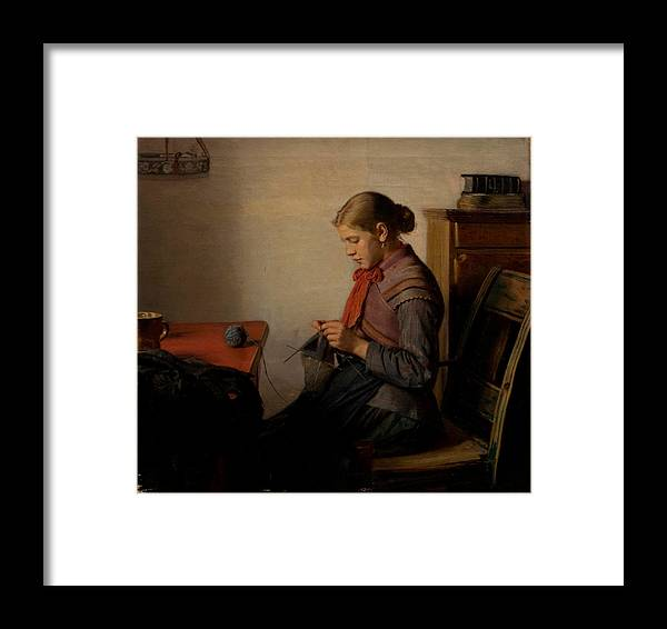 Framed Print featuring the painting Michael Ancher - Skagen Girl, Maren Sofie, Knitting. by Artistic Rifki
