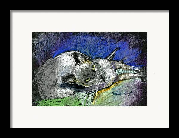 Cat Framed Print featuring the pastel Michael Campbell by Arline Wagner