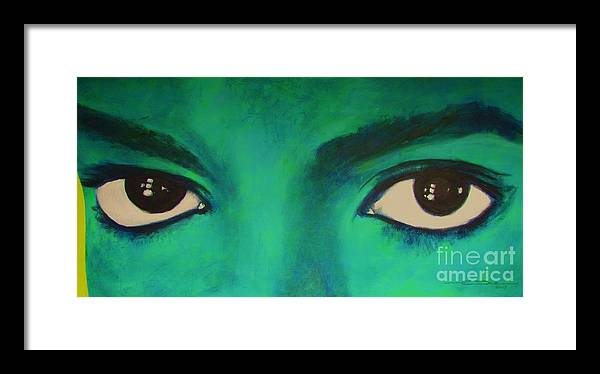 King Of Pop Framed Print featuring the painting Michael Jackson - Eyes by Eric Dee