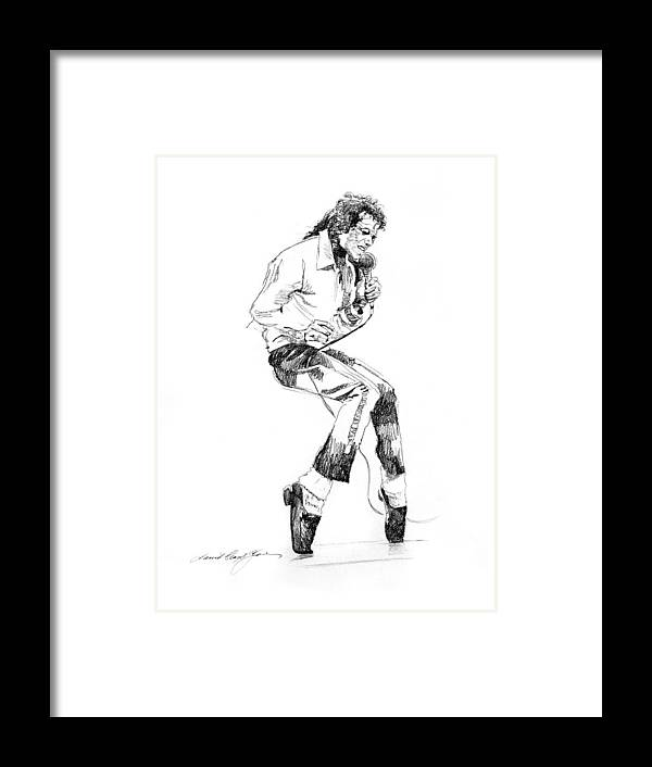 Michael Jackson Framed Print featuring the drawing Michael Jackson - King of Pop by David Lloyd Glover
