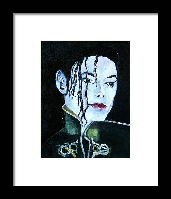 Music Framed Print featuring the painting Michael Jackson 2 by Udi Peled