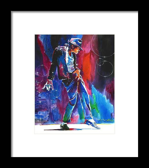 Michael Jackson Framed Print featuring the painting Michael Jackson Action by David Lloyd Glover