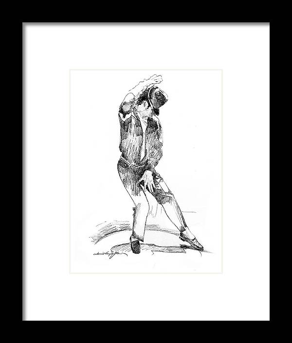Michael Jackson Framed Print featuring the drawing Michael Jackson Dancer by David Lloyd Glover