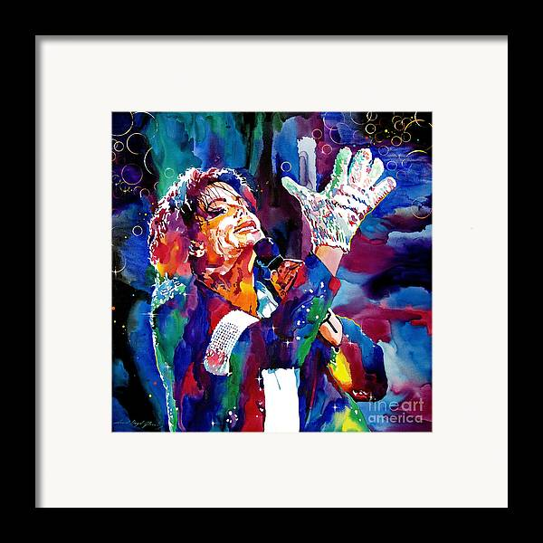 Michael Framed Print featuring the painting Michael Jackson Sings by David Lloyd Glover
